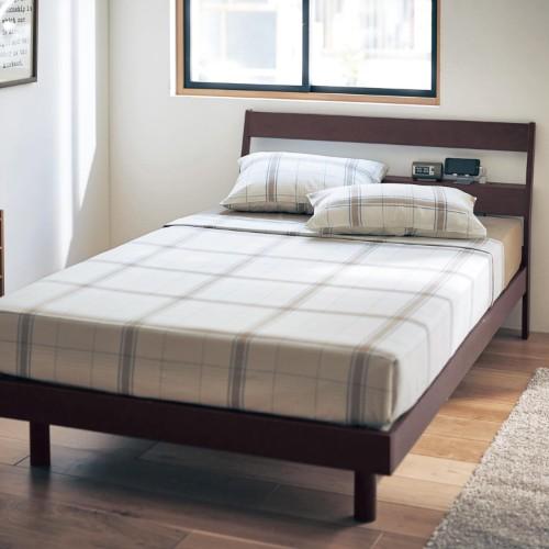 オーク材の棚付き高さ調整すのこベッド