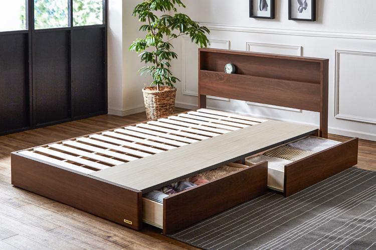 きしみにくいBOX構造の木製ベッド