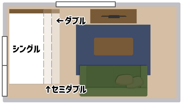 8畳部屋のベッドの配置図