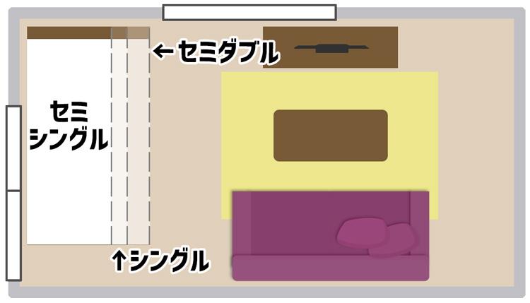 8畳の部屋にベッドを置いたイメージ