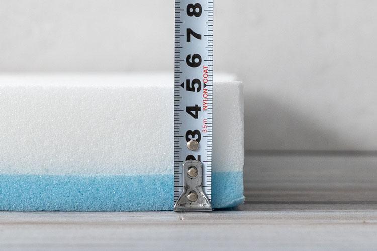 ウレタンフォームの厚さ計測