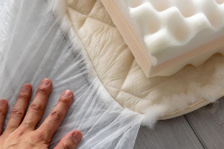 敷布団タイプの縫製